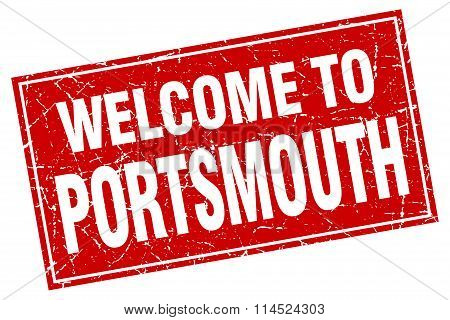 Portsmouth red square grunge welcome to stamp