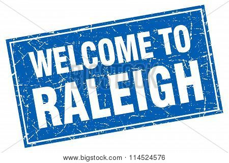 Raleigh blue square grunge welcome to stamp