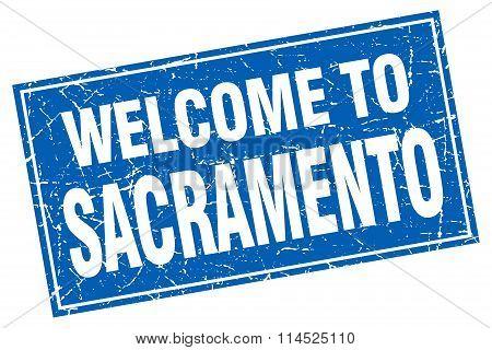 Sacramento blue square grunge welcome to stamp