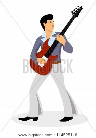 musician with a guitar on a white background