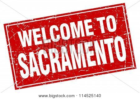 Sacramento red square grunge welcome to stamp
