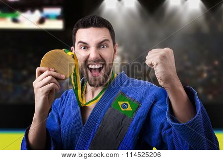 Brazilian judoka in the stadium