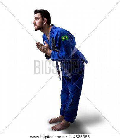 Brazilian judoka fighter man on white background