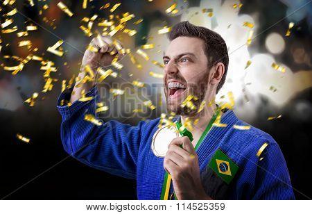 Brazilian judoka in the stadium