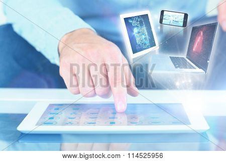 Close up of finger from man touching tablet against urban scene