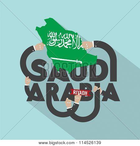 Riyadh The Capital City Of Saudi Arabia Typography Design.
