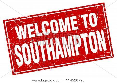 Southampton red square grunge welcome to stamp