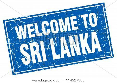 Sri Lanka blue square grunge welcome to stamp