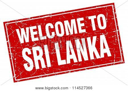 Sri Lanka red square grunge welcome to stamp