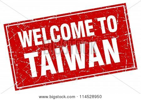 Taiwan red square grunge welcome to stamp