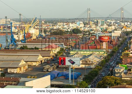 HO CHI MINH CITY, VIETNAM - JAN 15, 2016: Top view of Ho Chi Minh City. Although the city takes up just 0.6% of the country's land area, it contains 8.34% of the population of Vietnam.