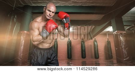 Portrait of boxer with red gloves against red boxing area with punching bags