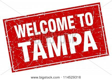 Tampa red square grunge welcome to stamp