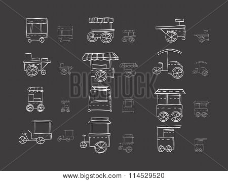Cart stall sketch vector icons on black