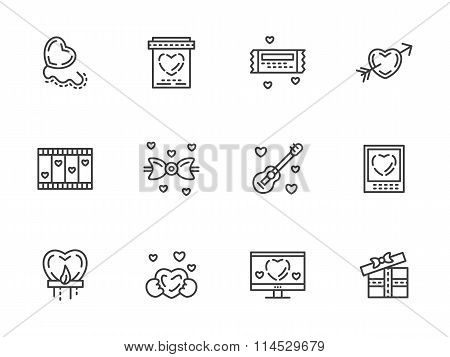 Valentines Day flat line vector icons set