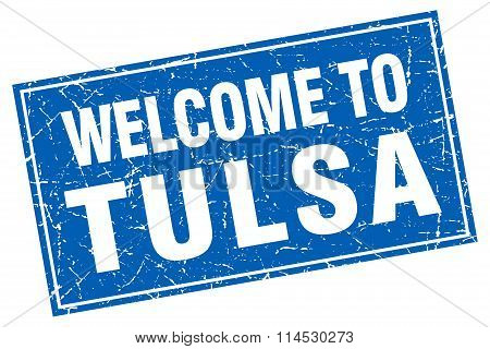 Tulsa blue square grunge welcome to stamp