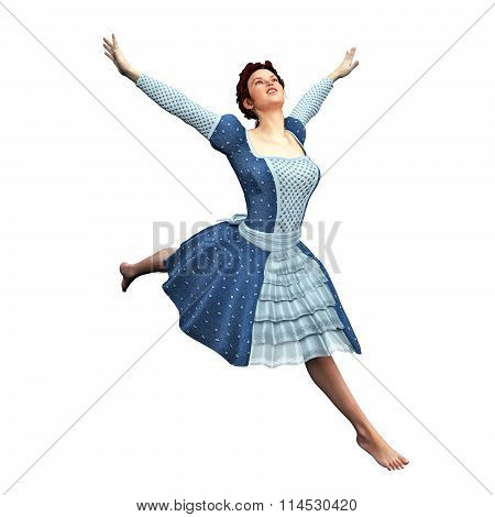 Young Lady Leap Isolated