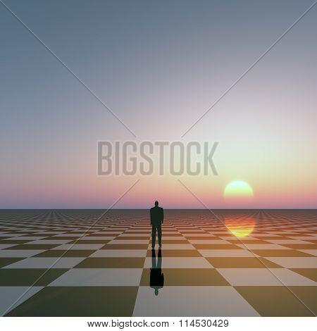 Man On Checkered Horizon