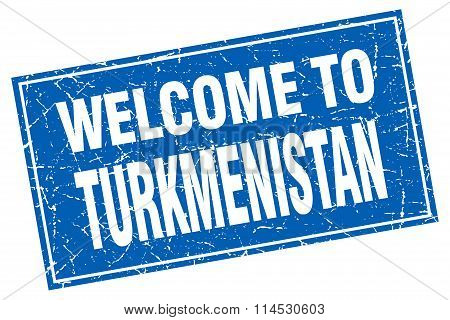 Turkmenistan blue square grunge welcome to stamp