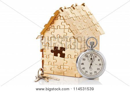 home of gold color puzzles with a stopwatch
