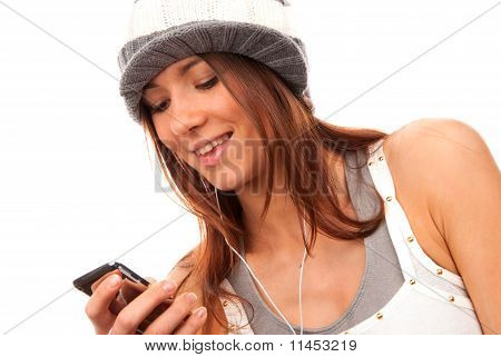 Teenage Girl Typing And Reading Text Message On Cell Phone