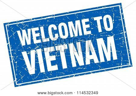 Vietnam blue square grunge welcome to stamp