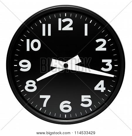 Round Black Wall Clock Over White