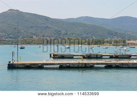 Piers Of Portoferraio Harbour On Elba Island, Tuscany, Italy