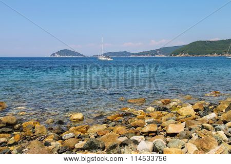 Sailing Yacht In Tyrrhenian Sea On Elba Island, Italy