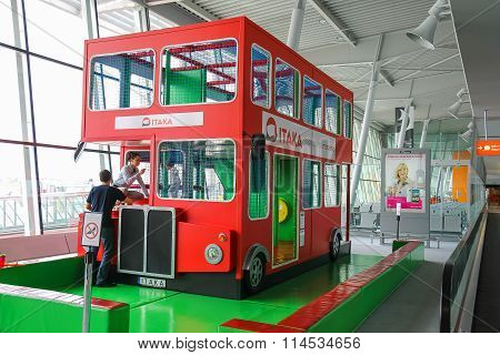 Kids Playground-bus In Warsaw Chopin Airport, Poland