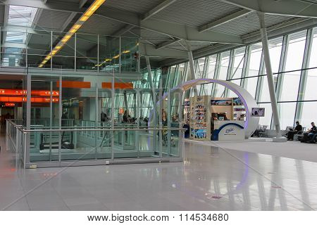 Passengers Waiting For Departure In Warsaw Chopin Airport, Poland