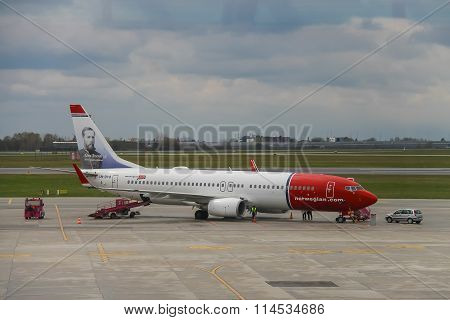 Preflight Service Of The Norwegian Airlines Plane In Warsaw Chopin Airport, Poland