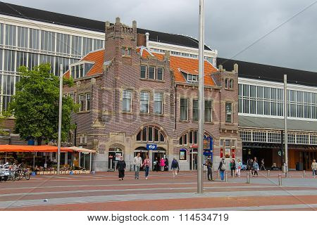 Main Entrance Of Haarlem Railway Station, The Netherlands