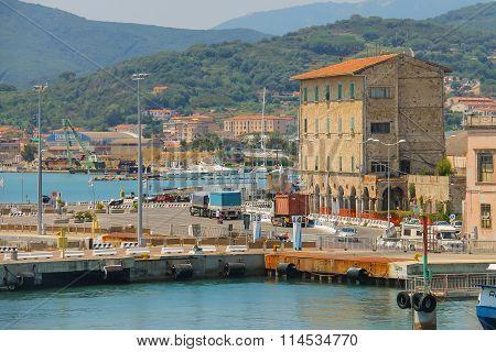 Portoferraio Harbour On Elba Island, Tuscany, Italy