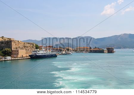 Passengers Cruise Ship And Cargo Boats In Portoferraio Harbour, View From The Sea. Elba Island, Tusc