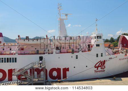 Ferry Boat Marmorica In Portoferraio Harbour On Elba Island, Tuscany, Italy