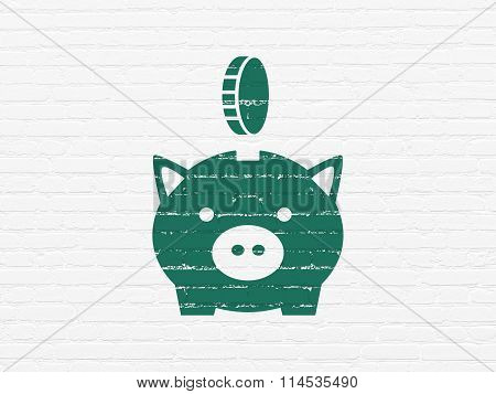 Currency concept: Money Box With Coin on wall background