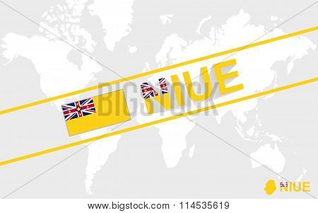 Niue Map Flag And Text Illustration
