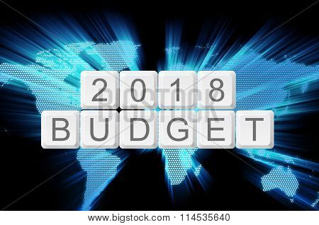World Glow Background And Keyboard Button With Word 2018 Budget