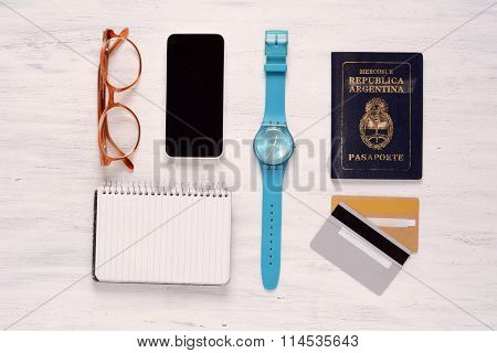 Essential Things Of Of Traveler, Student Or Young Man