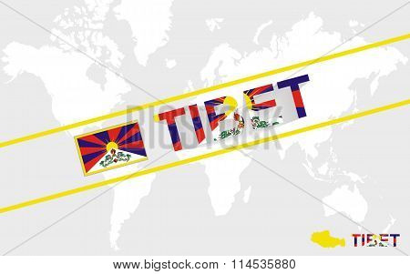 Tibet Map Flag And Text Illustration