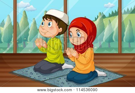 Muslim boy and girl praying in the room illustration