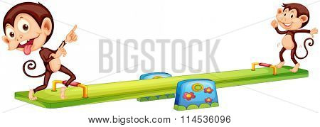 Two monkeys playing see-saw illustration