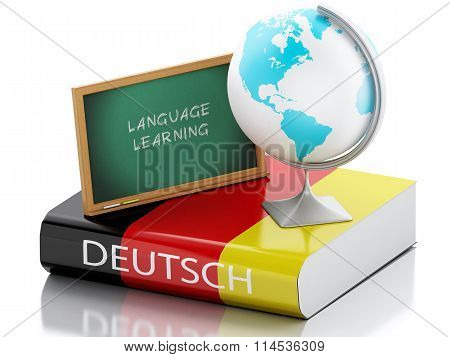 3D Learn German. Education Concept.