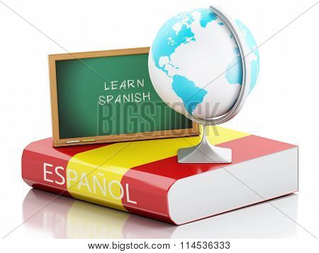 3D Learn Spanish. Education Concept.