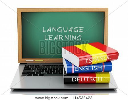 3D Laptop With Chalkboard And Dictionaries.