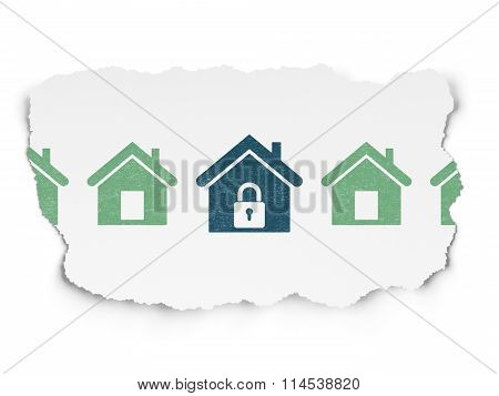 Security concept: home icon on Torn Paper background