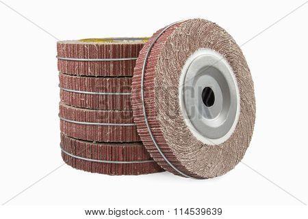 Abrasive flap wheel isolated on white background