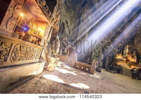 Stone Altar Illuminated By A Sunbeam.