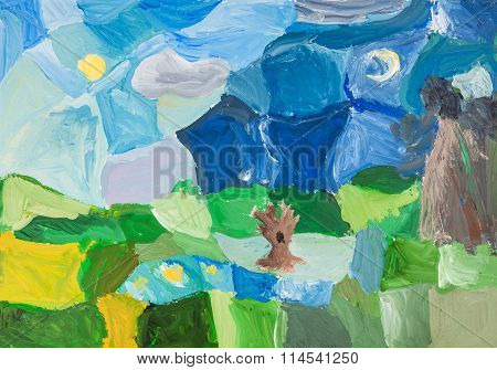 Abstract Green Landscape With Trees And Night Sky